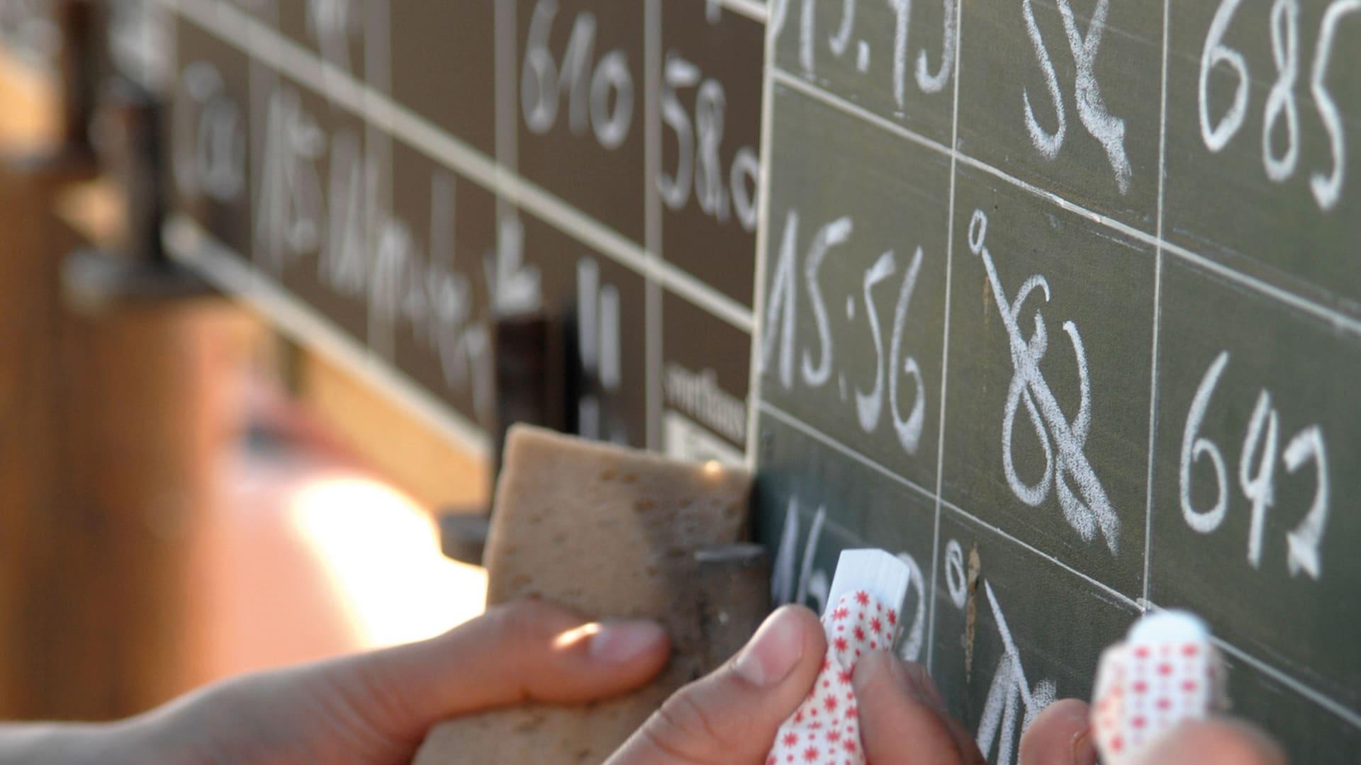 Reihenfolgen und Ergebnisse an der Tafel